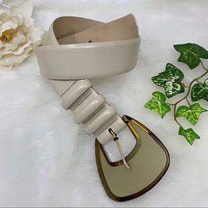 REISS ivory leather belt oversized buckle